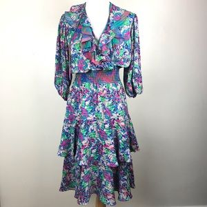 Vintage Susan Fries Bright Colored Dress S